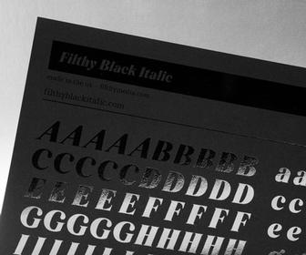 Filthymedia's Filthy Black Italic font was inspired by latex and curves