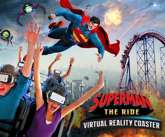 This Superman ride is a real rollercoaster that you wear a VR headset on