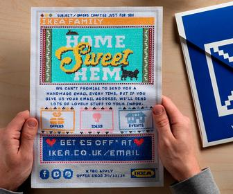 Lida designs a cross-stitch email sent to thousands of Ikea Family members