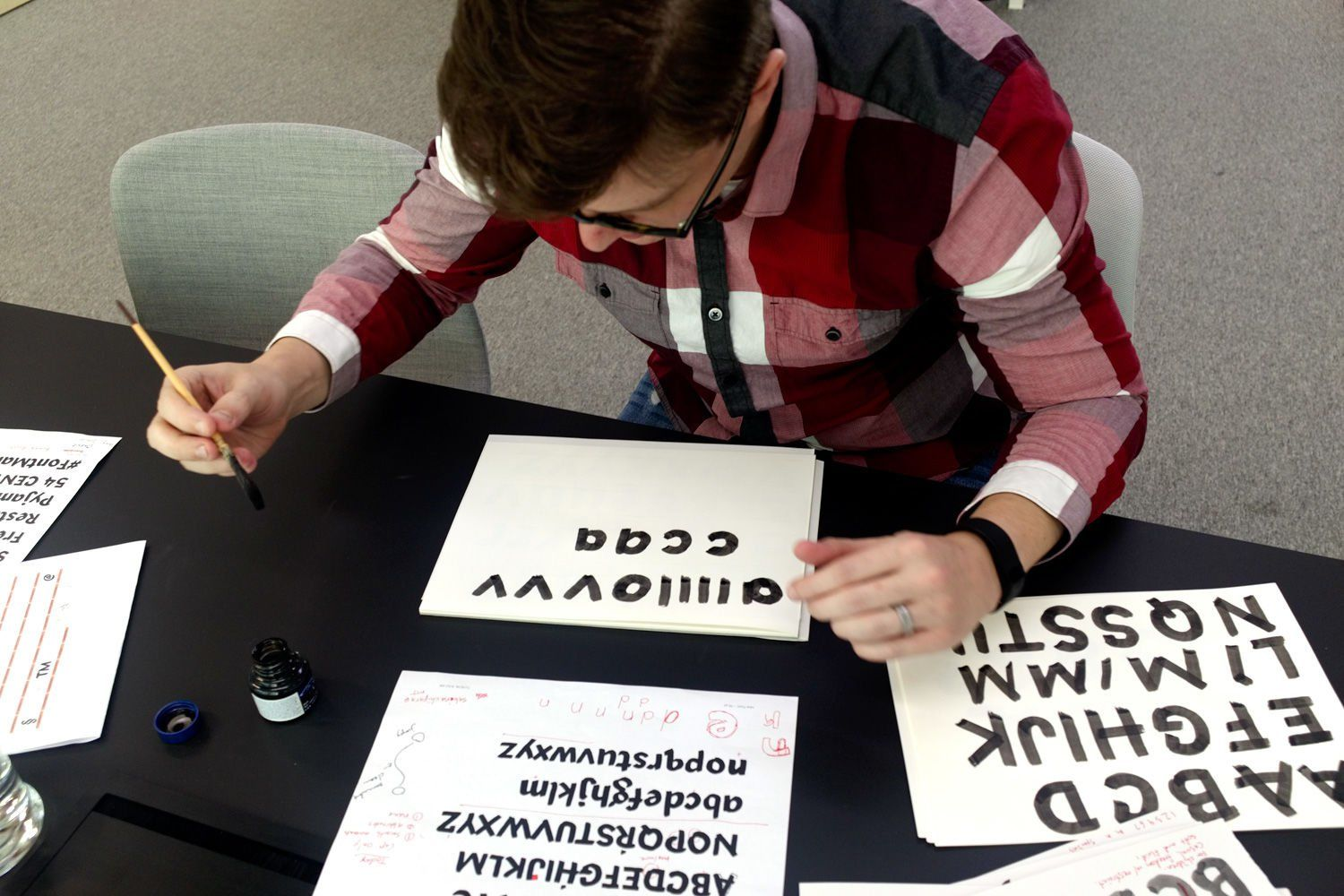 Terrance developing his typeface, Terry Junior, for Monotype's Font Marathon