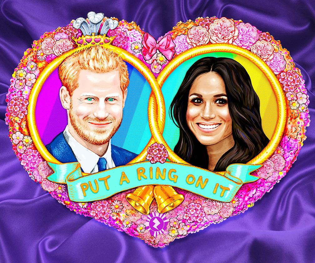 Jock Mooney's superbly garish Royal Wedding T-shirt art comes to life to let you marry Harry or Meghan