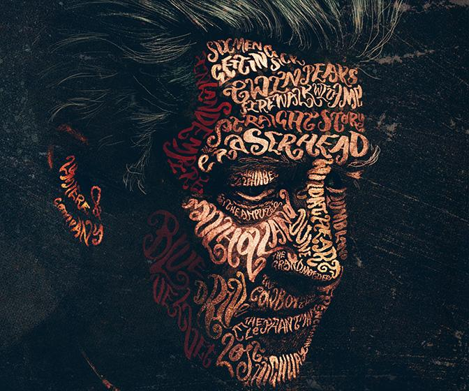 Get up-close with Peter Strain's spellbinding mix of typography and portraiture