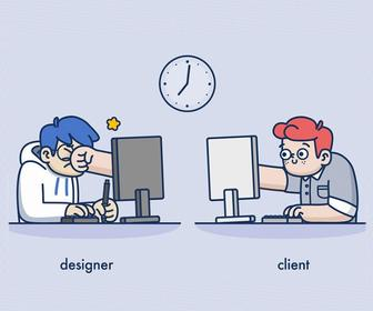 Fun animations show the eternal struggle between designer and client