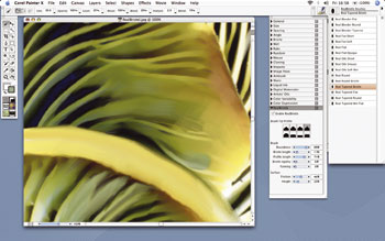 border=0 /> </div><BR></div> </p> <p> Painter's top new features as touted by Corel are RealBristle painting and Divine Proportion. RealBristle (above) is an attempt to further replicate the interaction between a brush and a canvas. Put simply, when using RealBristle brushes, the hairs bend and spread out.  </p> <p> RealBristle's value to professionals cannot be overstated when used in conjunction with a pressure-sensitive graphics tablet. Perfect for mimicking the inherent inaccuracies involved in working with physical tools and wet paint in the real world, RealBristle goes some way towards adding a degree of complexity to digitally produced art.  </p> <p> As you'd expect, brushes can be quickly customized to perform as required. The addition of the RealBristle brushes does not, however, indicate the deprecation or removal of pre-existing brush sets such as Artists' Oils, Sumi-e, or Impasto. </p> <p> <div class=floatedimage><img src=