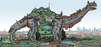 Turn a city into a dinosaur illustration