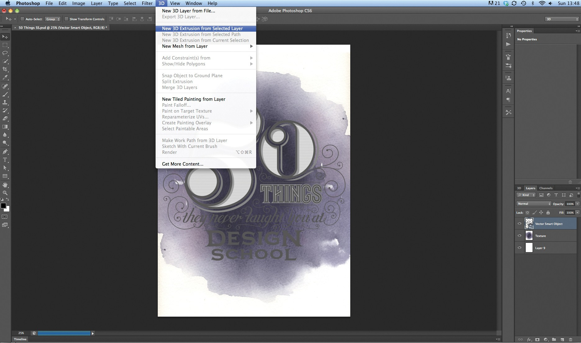 3d type tutorial create 3d type using photoshop cs6 digital arts baditri Choice Image