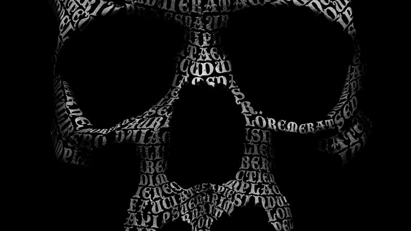 Unlock the power of Photoshop's Distort tool to create this enigmatic skull made of type.