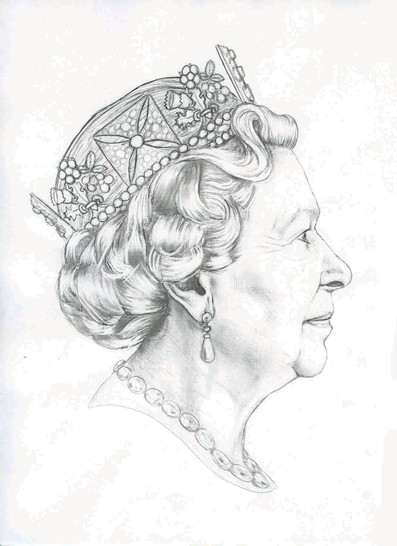 Line Drawing Of Queen Elizabeth Ii : The new queen s head a redrawn portrait for british coins