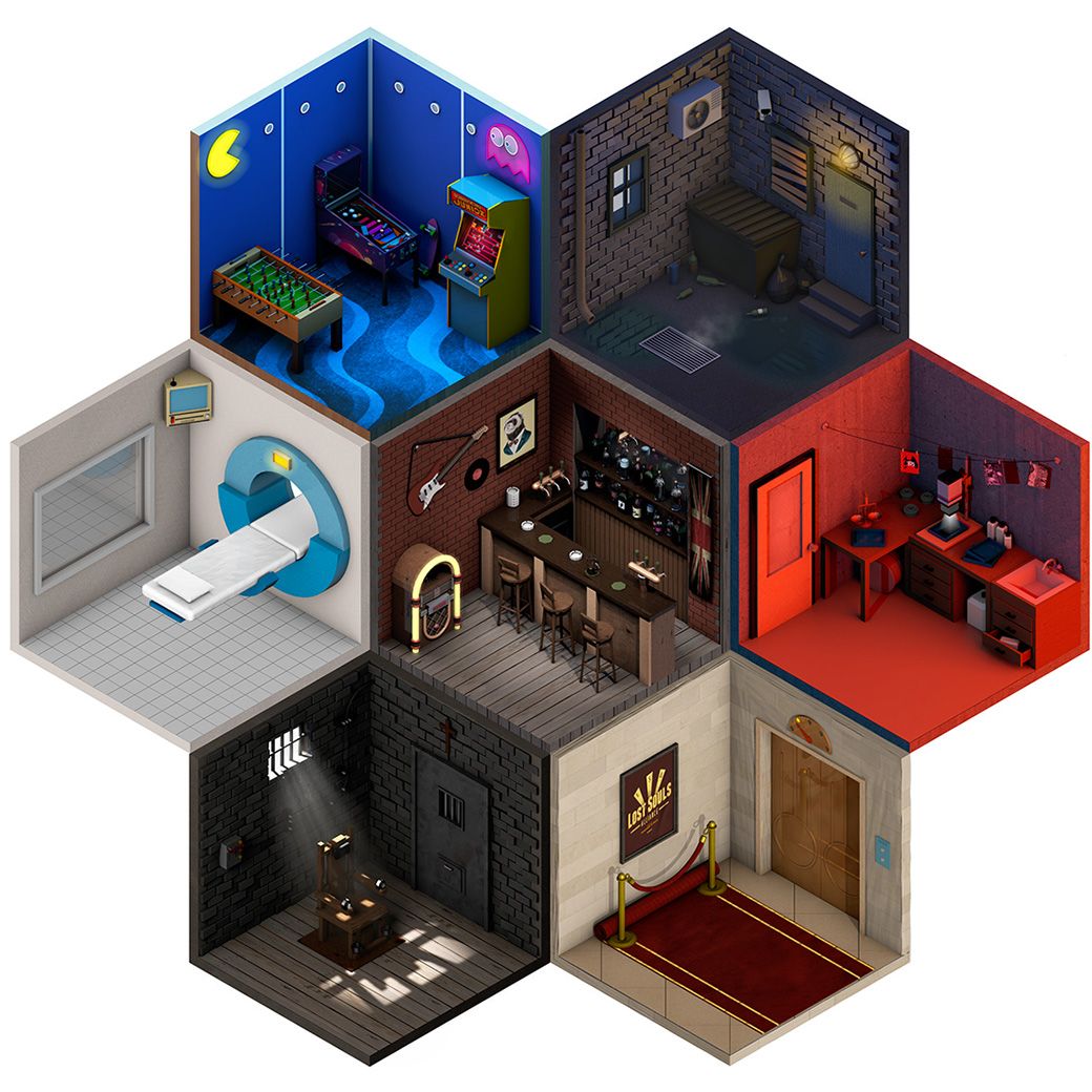 low poly isometric artworks feature miniature rooms inside hexagons