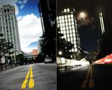 Create a city night scene with long-exposure effects