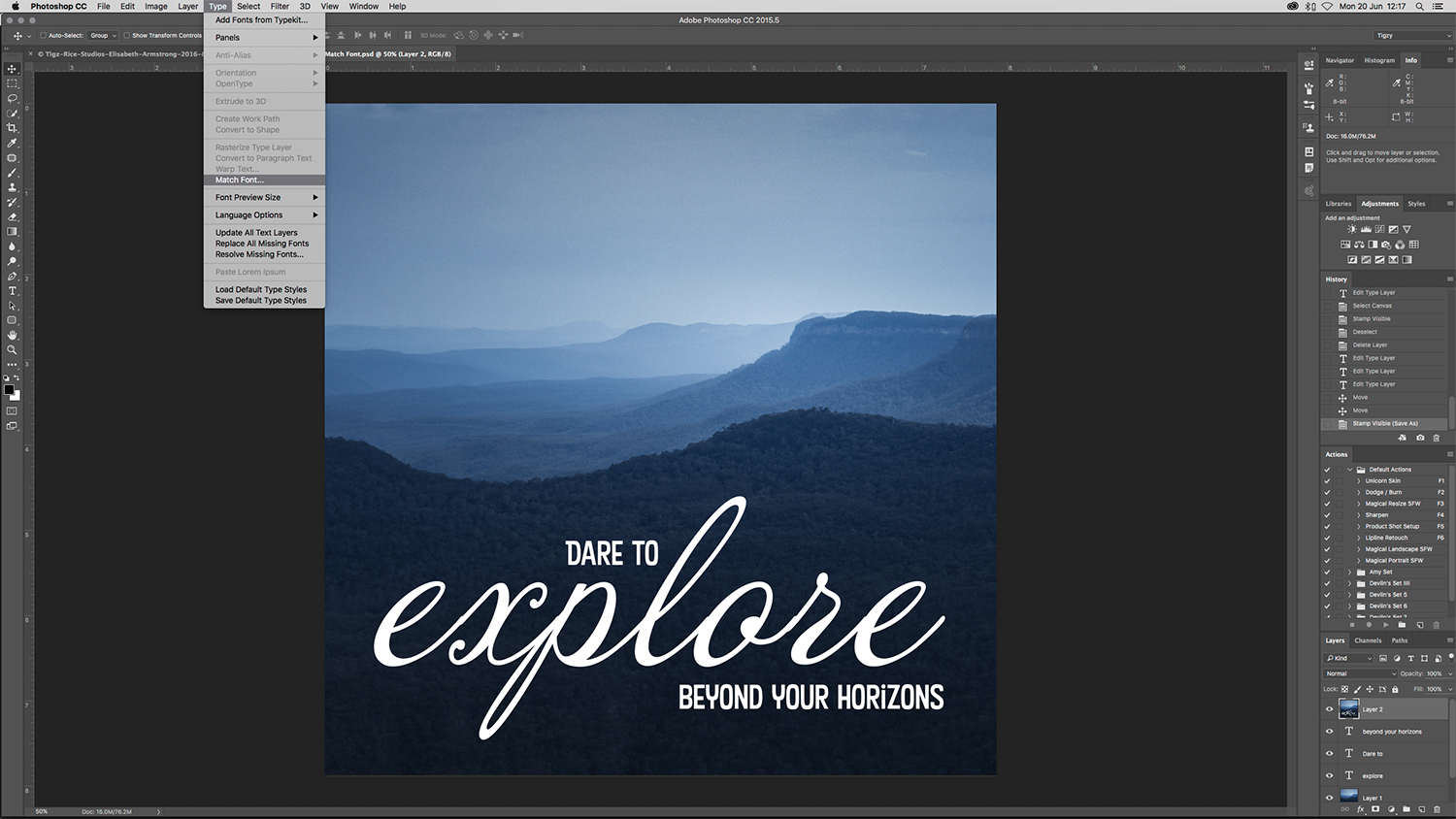Photoshop tutorial how to use photoshops new match font tool to photoshop tutorial how to use photoshops new match font tool to identify fonts used in photos and designs digital arts baditri Choice Image