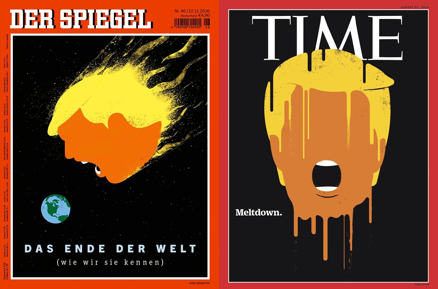 The magazine cover art of donald trump causing headlines for Spiegel magazi
