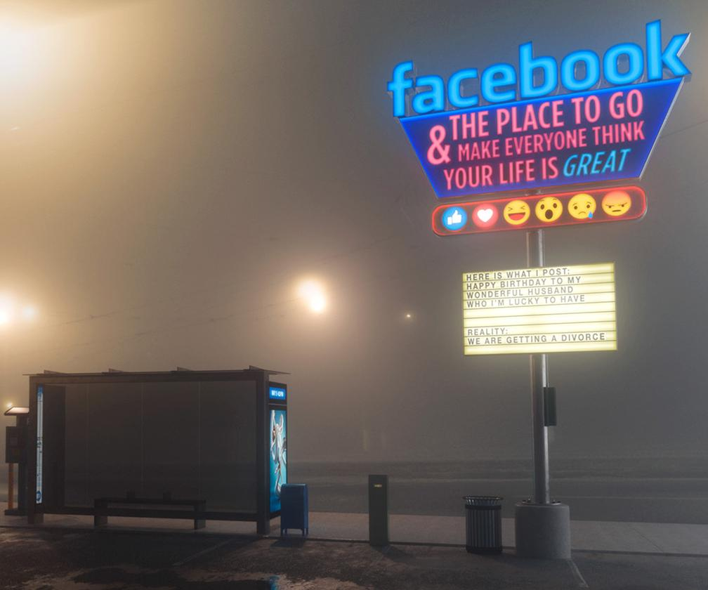 Digital artist Mike Campau's dystopian scenes reflect a growing mistrust with social media